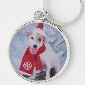 Jack Russell Terrier - santa's helper Keychain