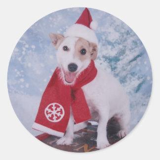 Jack Russell Terrier  - Santas Helper Round Sticker