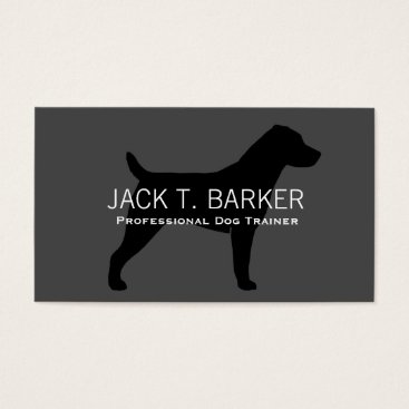 jennsdoodleworld Jack Russell Terrier Silhouette Black on Grey Business Card