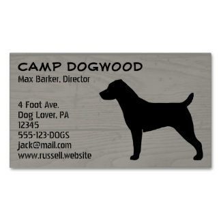 Jack Russell Terrier Silhouette Wood Style Business Card Magnet