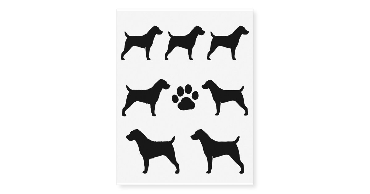 jack russell terrier silhouettes temporary tattoos zazzle. Black Bedroom Furniture Sets. Home Design Ideas