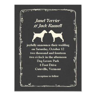 """Jack Russell Terrier Silhouettes Wedding 4.25"""" X 5.5"""" Invitation Card"""