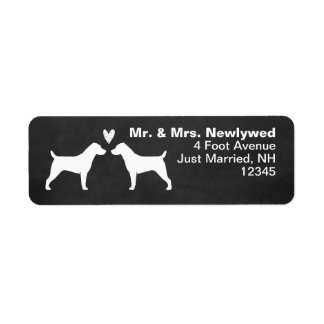 Jack Russell Terrier Silhouettes with Heart Labels