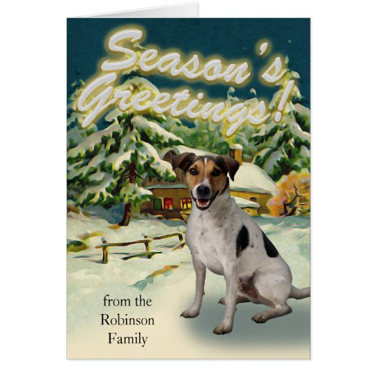 Jack Russell Terrier Snow Cabin Christmas Cards