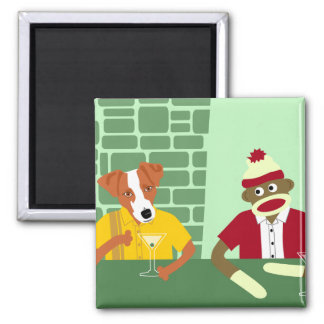 Jack Russell Terrier & Sock Monkey 2 Inch Square Magnet