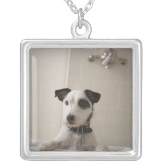 Jack russell terrier. square pendant necklace