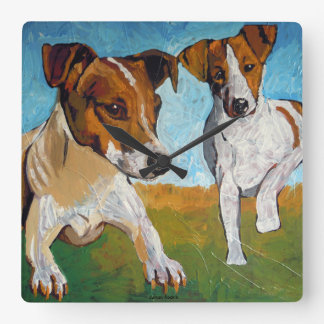 Jack Russell Terrier Square Wall Clock