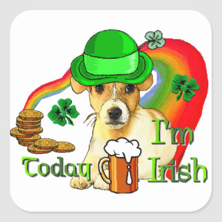 Jack Russell Terrier St Patricks Square Sticker