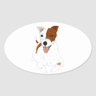 Jack Russell Terrier Oval Stickers