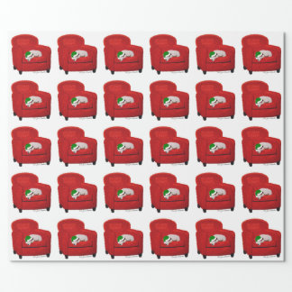 Jack Russell Terrier w/ Santa Hat Holiday Giftwrap Wrapping Paper