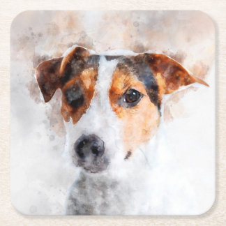 Jack Russell Terrier Watercolor Art Square Paper Coaster