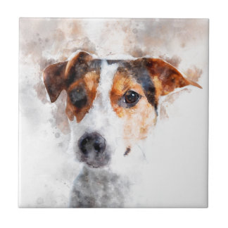 Jack Russell Terrier Watercolor Art Tile