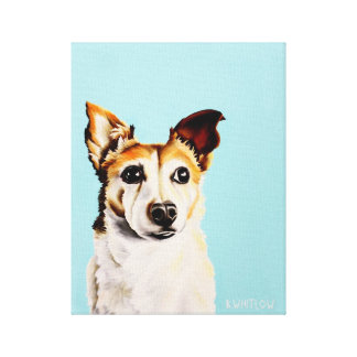 Jack Russell Terrier Whimsical Oil Painting Canvas Print