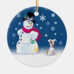 Jack Russell Terrier y muñeco de nieve Adorno Redondo De Cerámica