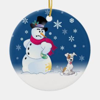 Jack Russell Terrier y muñeco de nieve Adorno De Reyes