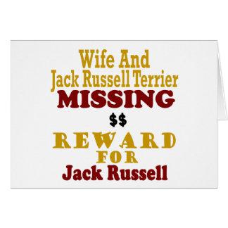 Jack Russell Terrier y recompensa que falta de la  Tarjeton