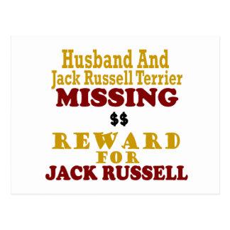 Jack Russell Terrier y recompensa que falta del ma Postal