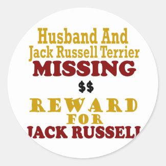 Jack Russell Terrier y recompensa que falta del Pegatina Redonda