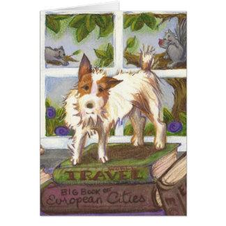 Jack Russell Terrier y tarjeta de felicitación de