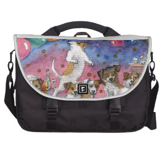 Jack Russell Terriers at a party Commuter Bag