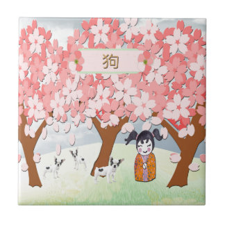 Jack Russell Terriers, Chinese Girl, Plum Tree Tile