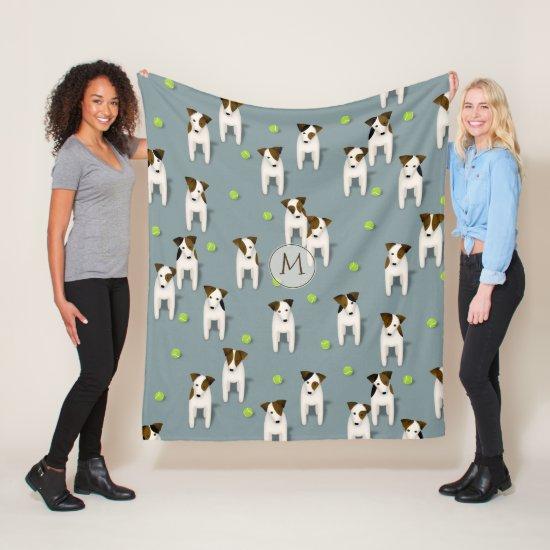 Jack Russell Terriers dogs w tennis balls pattern Fleece Blanket