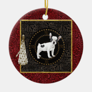 Jack Russell Terriers, Round Shape, Sign Chinese Ceramic Ornament