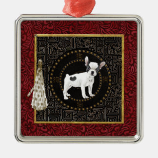 Jack Russell Terriers, Round Shape, Sign Chinese Metal Ornament