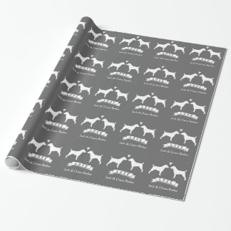 Jack Russell Terriers Wedding Couple with Text Wrapping Paper