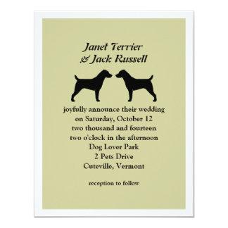 "Jack Russell Terriers Wedding Invitation 4.25"" X 5.5"" Invitation Card"
