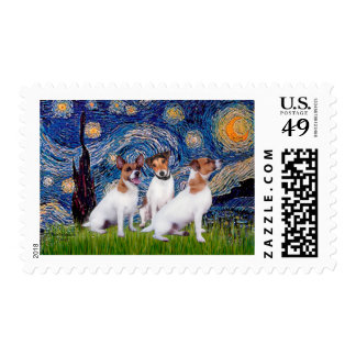 Jack Russell Trio - Starry Night Postage Stamp