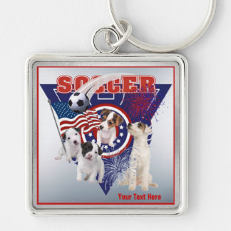 Jack Russell US Flag Soccer Design – Customize It Silver-Colored Square Keychain