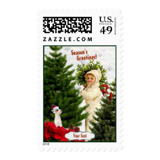Jack Russell Vintage Red Poinsettia Postage Stamps
