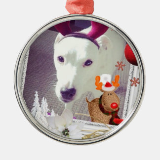 Jack Russell Xmas Metal Ornament