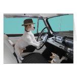 Jack Russell y gato que conducen el coche clásico Tarjeta