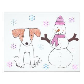 Jack Russell y muñeco de nieve Invitación 10,8 X 13,9 Cm