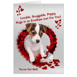 Jack Russell You've Got Mail Puppy Hugs Valentine Card