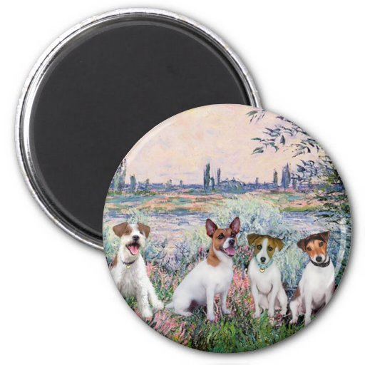 Jack Russells (four) - By the Seine 2 Inch Round Magnet