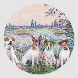 Jack Russells (four) - By the Seine Classic Round Sticker