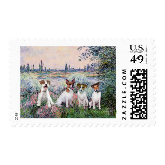 Jack Russells (four) - By the Seine Stamp