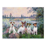 Jack Russells (four) - By the Seine Postcard