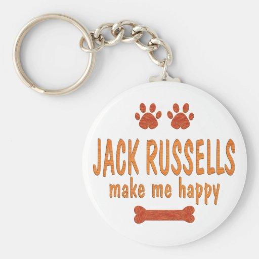 Jack Russells me hace feliz Llavero Redondo Tipo Pin