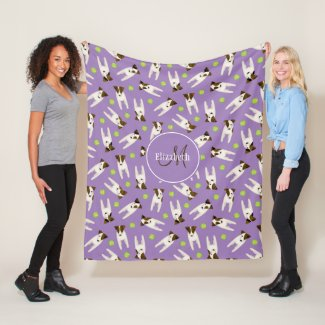 Jack Russells w tennis balls lilac monogrammed Fleece Blanket