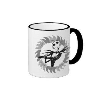 Jack Skellington arms folded framed in saw blade Coffee Mug