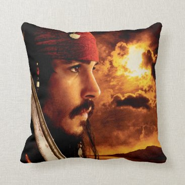 Disney Themed Jack Sparrow Side Face Shot Throw Pillow