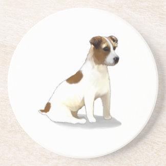 Jack Terrier Dog Sitting Sandstone Coaster