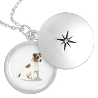 Jack Terrier Dog Sitting Silver Plated Necklace