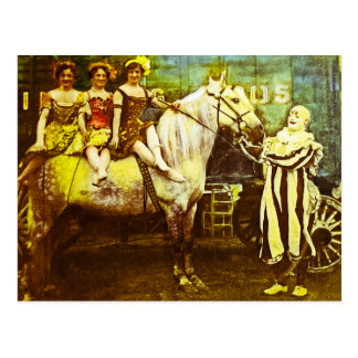 Jack the Clown and the Three Queens Vintage Circus Postcard