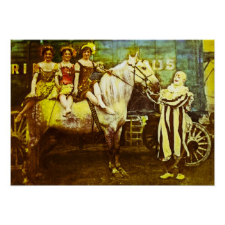 Jack the Clown and the Three Queens Vintage Circus Poster