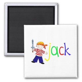 Jack with pirate illustration 2 inch square magnet